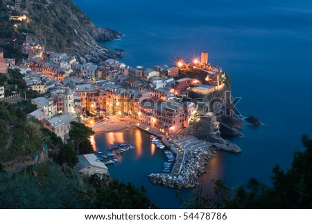 Vernazza at night, Cinque Terre, Itlay - stock photo