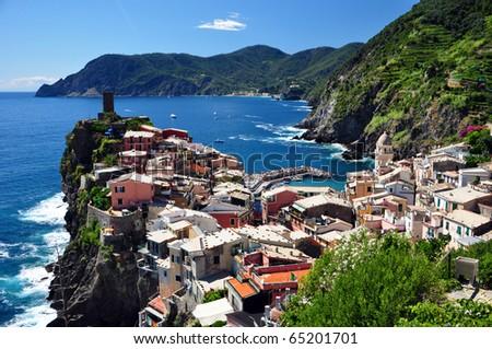 Vernazza fisherman village, Cinque Terre, Italy - stock photo