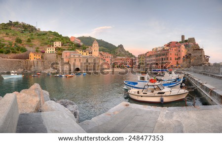 Vernazza is a town and comune located in the province of La Spezia, Liguria, northwestern Italy.  - stock photo
