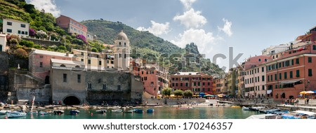 Vernazza is a town in the province of La Spezia, Liguria, northwestern Italy. - stock photo