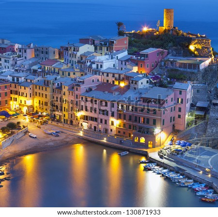 "Vernazza,night view in the national park "" CInque Terre"" Liguria,Italy. - stock photo"