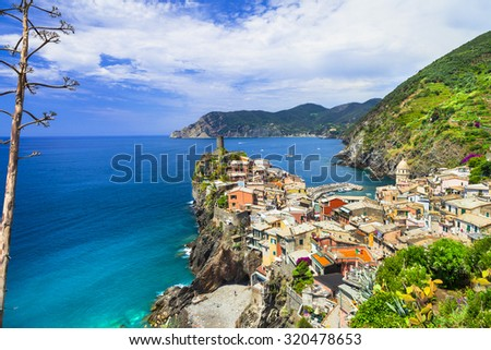 "Vernazza- one of the most beautiful villages of Italy, ""Cinque Terre"" - stock photo"