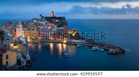 Vernazza Sunset Cityscape - stock photo