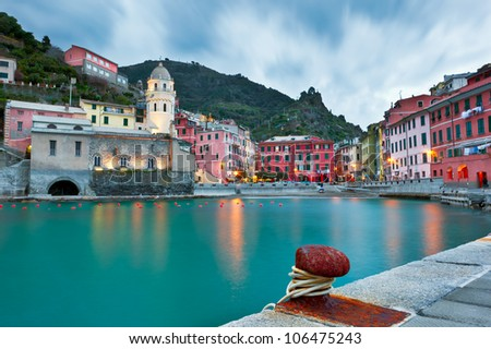 Vernazza, the runway model of Cinque Terre on the Western coast of Italy is maybe the most picturesque village on the planet. - stock photo