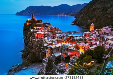 Vernazza village, aerial view on sunset, Seascape in Five lands, Cinque Terre National Park, Liguria Italy Europe. Long Exposure. - stock photo