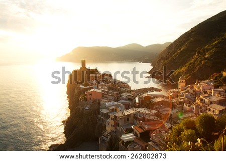 Vernazza Village at Sunset, Cinque Terre, Italy - stock photo