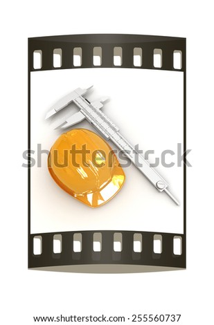 Vernier caliper and yellow hard hat 3d on a white background. The film strip - stock photo