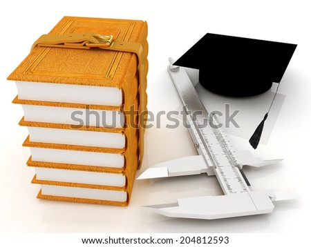 Vernier caliper, books and graduation hat. The best professional edication concept on a white background - stock photo