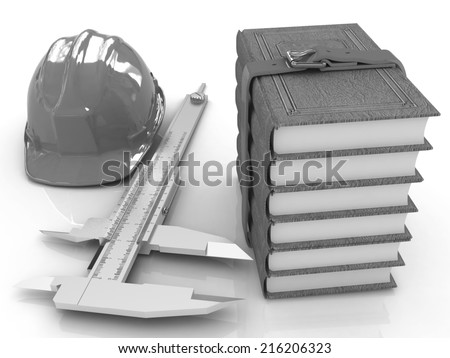 Vernier caliper, leather books and yellow hard hat on a white background - stock photo