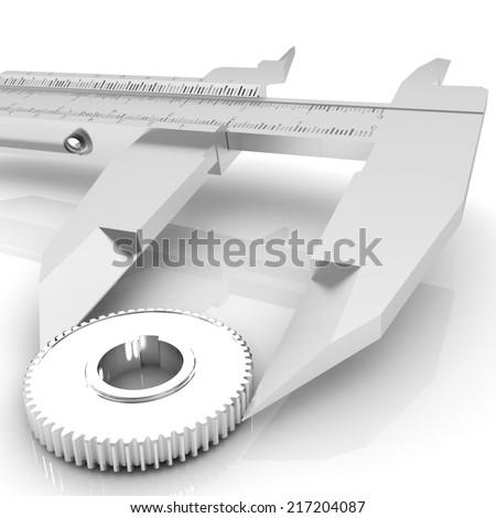 Vernier caliper measures the cogwheel on a white background - stock photo