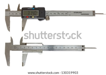Vernier caliper on a white background, isolated image - stock photo