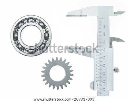 Vernier Caliper with Bearing and Gear Wheel on a white background - stock photo