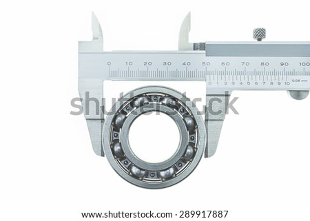 Vernier Caliper with Bearing on a white background - stock photo
