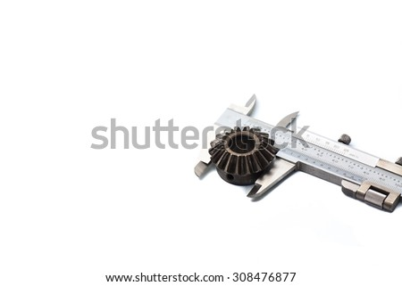 Vernier Caliper with pinion gear on a white background - stock photo