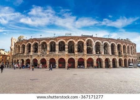 Verona Arena in a beautiful summer day in Verona, Italy - stock photo