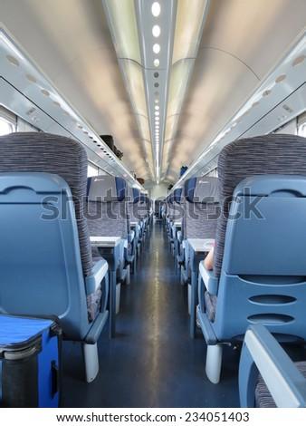 VERONA, CIRCA JULY 2014 - train seats empty useful as travel concept - stock photo