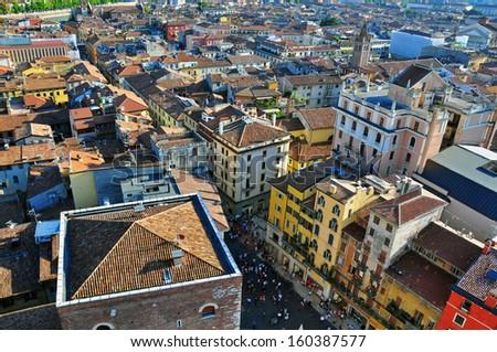 Verona cityscape, top view. Veneto, Italy - stock photo