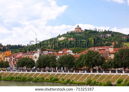 Verona historic center cityscape. horizontal shot. another Verona shots available - stock photo