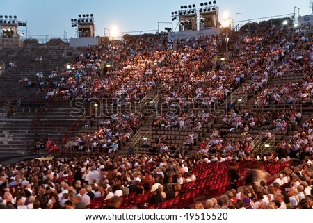 VERONA, ITALY - AUGUST 5: people are waiting for the start of the opera in the arena of Verona August 05, 2009, Verona, Italy. - stock photo