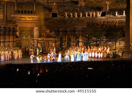 VERONA, ITALY - AUGUST  5: performers, singer on stage with AIDA from Verdi in the arena of Verona August 05, 2009, Verona, Italy. - stock photo