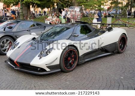 VERONA, ITALY - JULY 11: Pagani Zonda on July 11, 2014 in Verona, Italy. Part of a display of Pagani, Lamborghini, Mercedes and Ford Supercars in Piazza Bra.  - stock photo