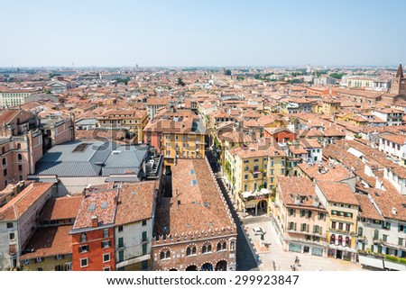 VERONA, ITALY - JUNE 3: Aerial view of  Verona, Italy on June 3, 2015. Verona is famous for its amphitheatre that could host more than 30,000 spectators in ancient times. - stock photo