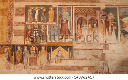 VERONA - JANUARY 27: Fresco from 13. - 14. cent. in basilica San Zeno in January 27, 2013 in Verona, Italy. - stock photo