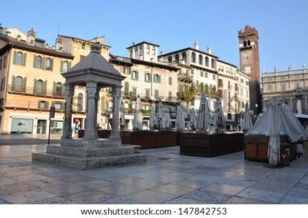 Verona, Piazza Erbe in the morning - stock photo
