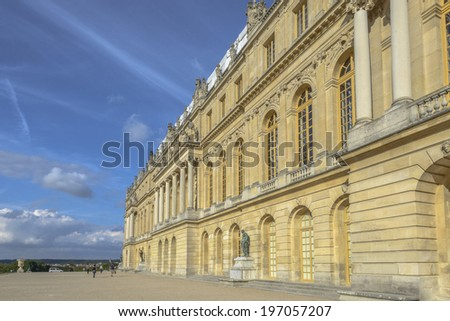 Versailles Chateau exterior in a sunny day near Paris, France - stock photo