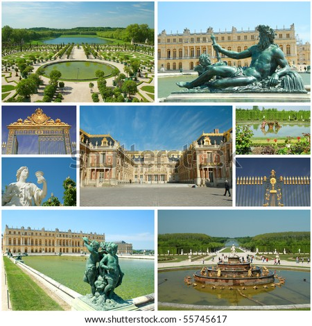 versailles collage - stock photo