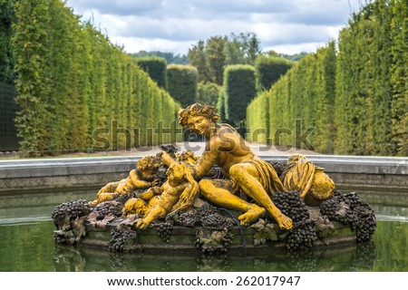 VERSAILLES, FRANCE - August 7, 2014: Outside view of Famous palace Versailles. The Palace Versailles was a royal chateau on August 7, 2014, France. - stock photo