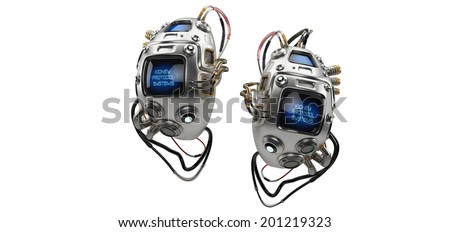 VERSION 2.0. Unique robotic internal organ - steel kidney with sensor / Kidney Protocol Systems - stock photo