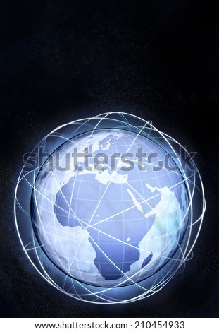vertical Africa earth globe view from cosmic space illustration - stock photo