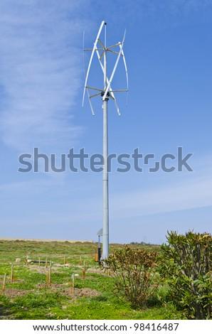 Vertical axis silent wind turbine - stock photo