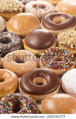 Vertical Background of Donuts or Doughnuts - stock photo