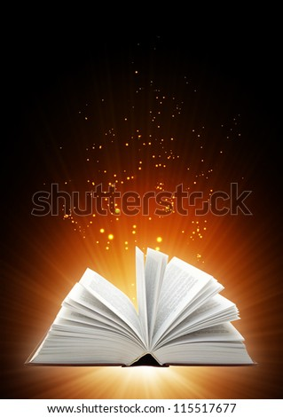 Vertical background with magic book - stock photo