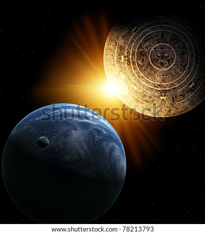 Vertical background with Maya calendar and Earth - stock photo