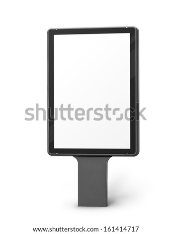 Vertical blank billboard isolated on a white background, screen and outline clipping paths included. - stock photo