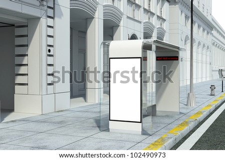 Vertical blank billboard on bus stop on the city street - stock photo