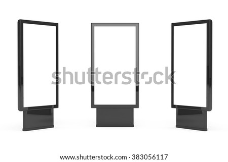 Vertical Blank Billboards on a white background - stock photo