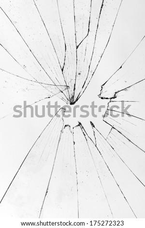 vertical broken glass white background - stock photo