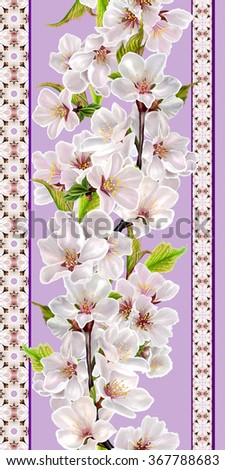 vertical floral border, pattern, seamless, branch of cherry blossoms - stock photo