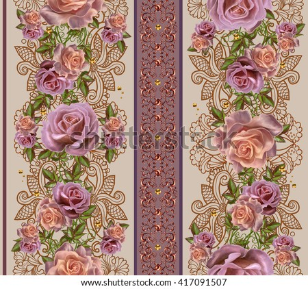 Vertical floral border. Pattern, seamless. Old style. Garland of pink and orange roses, gold border, gold mosaic. - stock photo