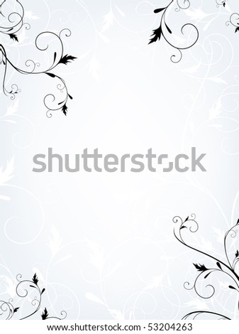 Vertical floral frame in quiet colors with copyspace for your text - stock photo