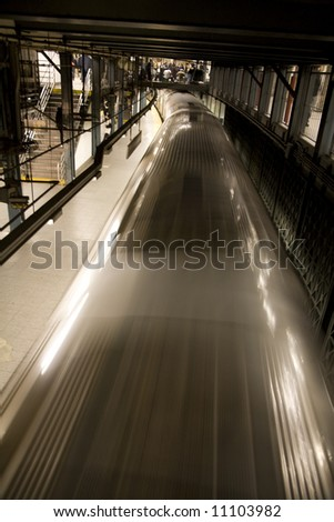 Vertical image of a typical New York City subway from above. - stock photo