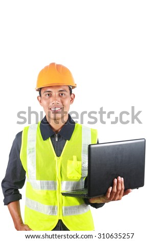 Vertical image of man asian engineer with laptop isolated on white background - stock photo