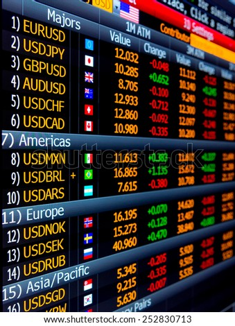 Vertical image of professional data provider showing currencies and forex prices and data, flags used as identifiers, red and green percentages and numbers - stock photo