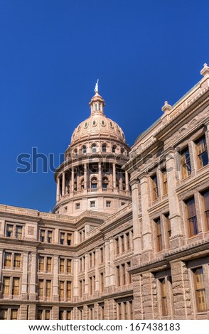 Vertical Image of the Texas State Capitol Building in Austin, Texas, USA - stock photo