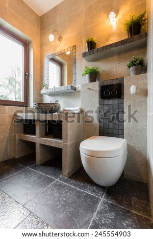 Vertical interior of the bathroom with toilet - stock photo