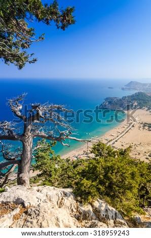 Vertical landscape from Tsambika mountain - stock photo